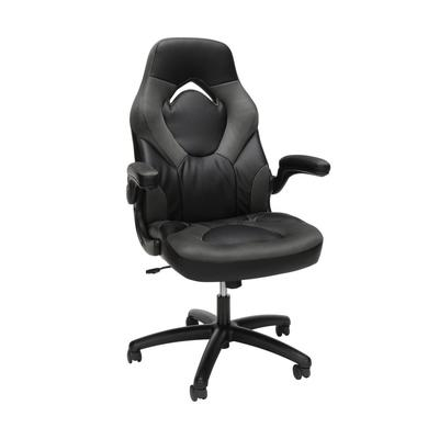 OFM Essentials Collection Racing Style Bonded Leather Gaming Chair in Gray - OFM ESS-3085-GRY