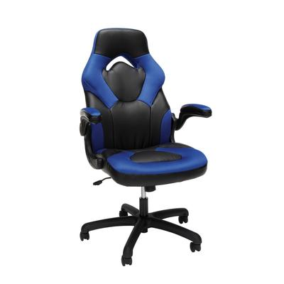 OFM Essentials Collection Racing Style Bonded Leather Gaming Chair in Blue - OFM ESS-3085-BLU