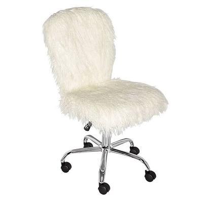 Faux Flokati Armless Office Chair - Linon 558255CHRM01