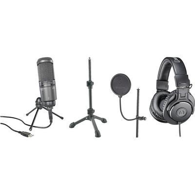 Audio-Technica Solo Podcast bundle Mic,Stand,Headphones