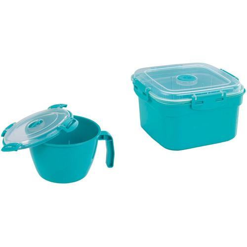 WENKO Mikrowellenbehälter, (Set, 2 tlg.) blau Mikrowellenbehälter Mikrowellengeschirr Kochen Backen Haushaltswaren