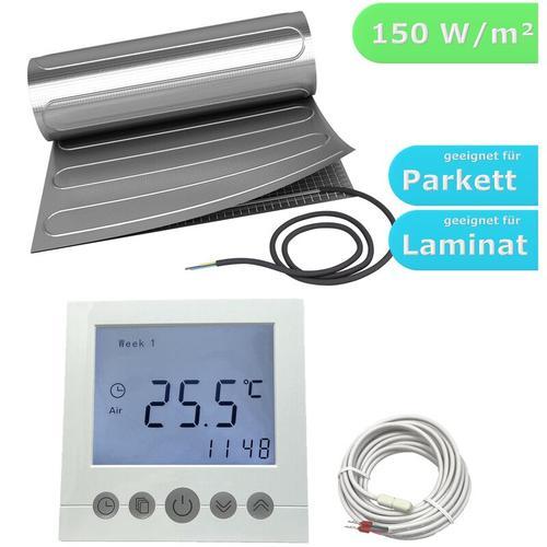 HoWaTech AL 520 Elektrische Laminat Fußbodenheizung | Set mit Heizmatte und Regler Digital: 4.00m²