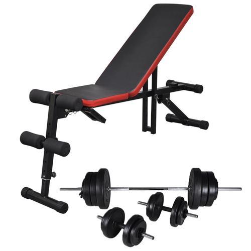 vidaXL Einstellbare Trainingsbank mit Lang- und Kurzhantel-Set 60,5 kg