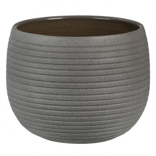 Keramik-Übertopf, rund, 12x16x16 cm, Umber Stone