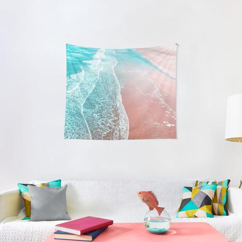 Sea Blue and Rose Gold Wall Tapestry