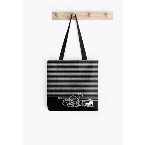 Unravel (White Cat) All Over Print Tote Bag