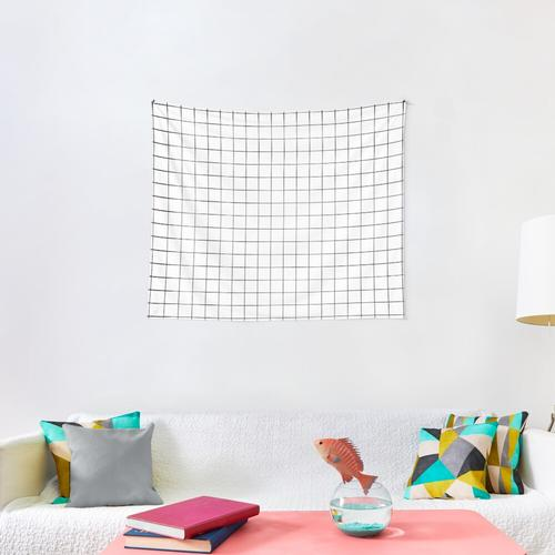 White Grid Wall Tapestry