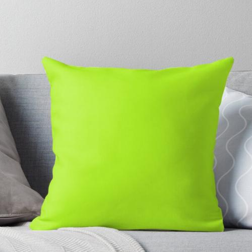 Cheapest Solid Bright Green Yellow Neon Color Throw Pillow