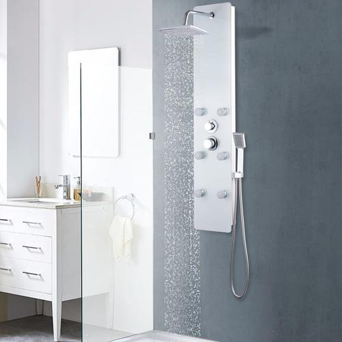 vidaXL Duschpaneel Glas 25×44,6×130 cm Weiß