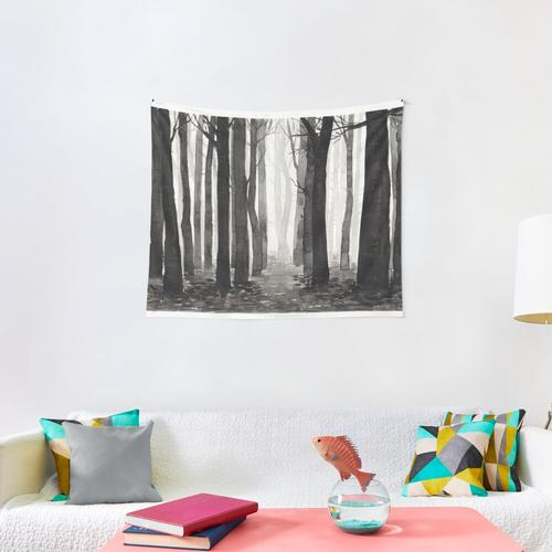 Monochrome Forest Wall Tapestry