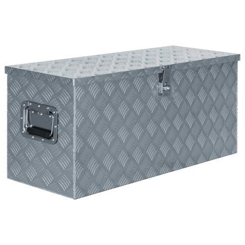 vidaXL Aluminiumkiste 90,5×35×40 cm Silbern