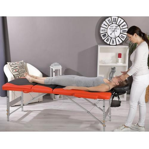 Aluminium 3 Zonen Massageliege Therapieliege Schwarz Orange + Tasche Liege