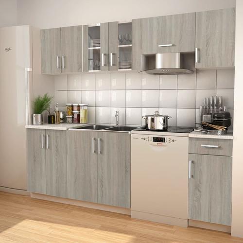 vidaXL 7-tlg. Küchenzeile Set mit Dunstabzugshaube Eiche-Optik
