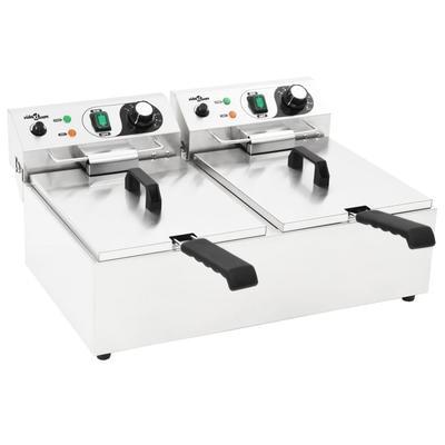 vidaXL Friteuse double électrique Acier inoxydable 20 L 6000 W