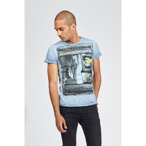 trueprodigy T-Shirt Bodyshot, mit coolem Frontprint im Vintage-Look blau Herren Shirts