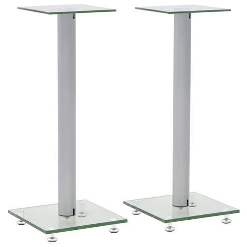 vidaXL Lautsprecherständer Säulen-Design 2 Stk. Hartglas Silbern