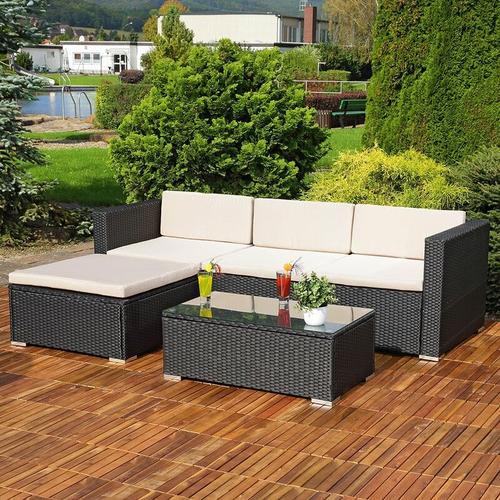 Lounge Gartengarnitur Sofa Tisch Kissen schwarz Polyrattan Gartenmöbel