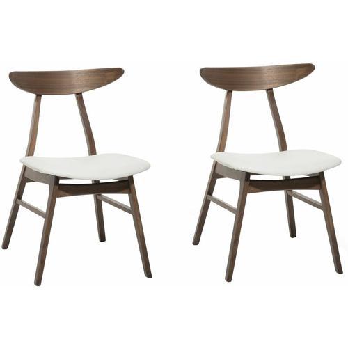 Esszimmerstuhl 2er Set Braun/Weiß Kunstleder/Holz 2 x Sitzkissen Japanischer Stil