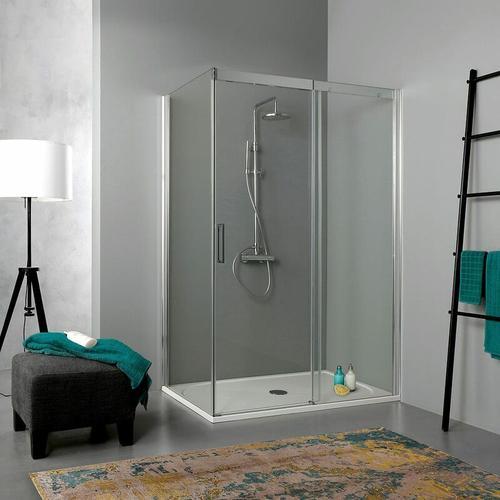 Duschkabine 70 × 130 Mit Schiebetür Aus Transparentem Kristallglas 190 Cm Höhe