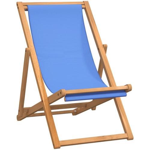 Liegestuhl Teak 56×105×96 cm Blau