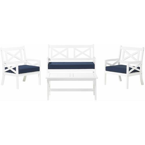 Beliani - Gartenmöbel Set Weiß Blau Akazienholz inkl. Sitzkissen 4-Sitzer Terrasse Outdoor