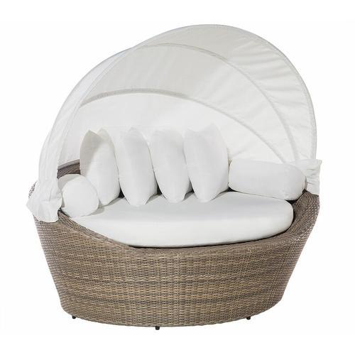 Beliani - Strandkorb hellbraun/cremeweiß Polyrattan Baumwolle 2-Sitzer Sonnendach inkl. Kissen