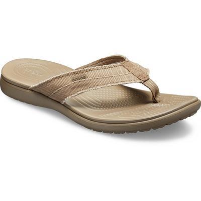 Crocs Khaki / Walnut Men'S Santa Cruz Canvas Flip Shoes