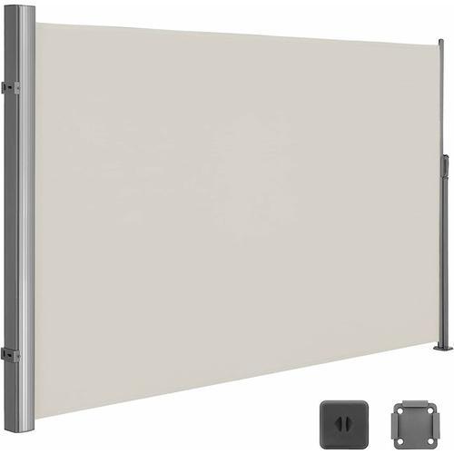 Seitenmarkise 200 x 300cm Markisenstoff aus Polyester 280g/m² 2 Montagearten Beige GSA200E - Beige