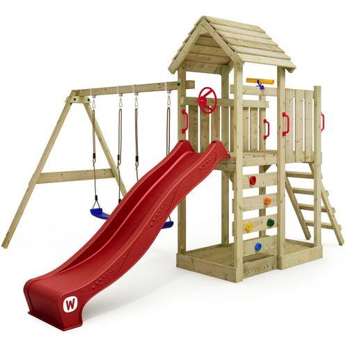 Spielturm Klettergerüst MultiFlyer Holzdach mit Schaukel & roter Rutsche, Kletterturm mit Holzdach,