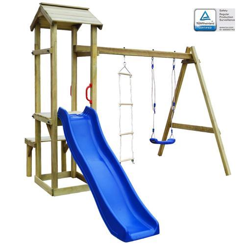 vidaXL Spielturm mit Rutsche Schaukel Leiter 238×228×218 cm Holz