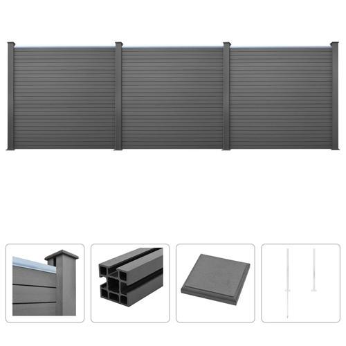 vidaXL WPC Zaun-Set 3 Quadrate 531 x 187 cm Grau