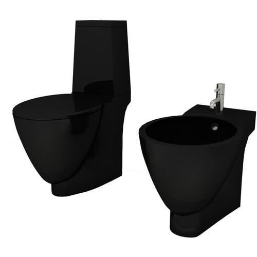 Keramik Toilette & Bidet Set Schwarz
