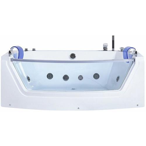 Whirlpool-Badewanne Weiß mit Farblichttherapie Wasserfall Sichtfenster Modern