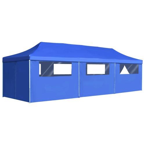 vidaXL Faltzelt Partyzelt Pop-Up mit 8 Seitenwänden 3 x 9 m Blau