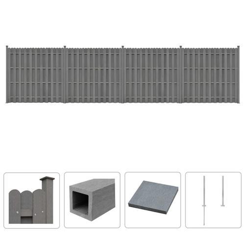 vidaXL WPC Zaun-Set 4 Quadratelemente 747 x 185 cm Grau