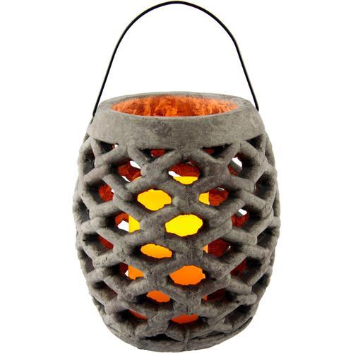 I.GE.A. LED-Leuchte Keramik Windlicht mit LED, Maße (H): 22 cm grau Kerzenhalter Kerzen Laternen Wohnaccessoires