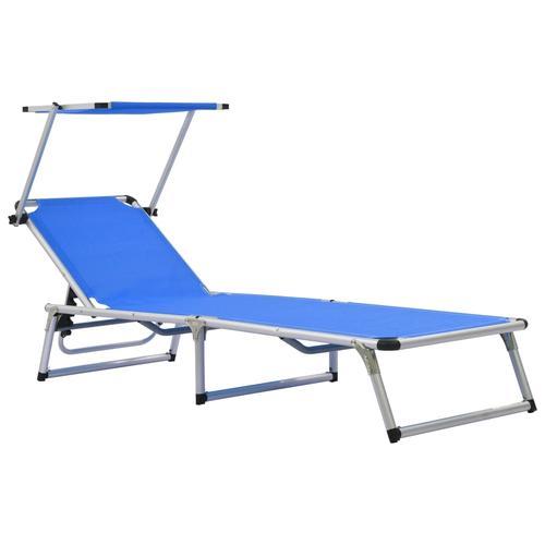 vidaXL Klappliege mit Sonnenschutz Aluminium und Textiline Blau