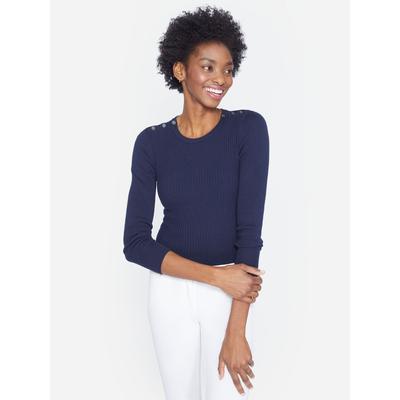J.McLaughlin Women's Seaspray Sweater Navy Blue Solid, Size Medium