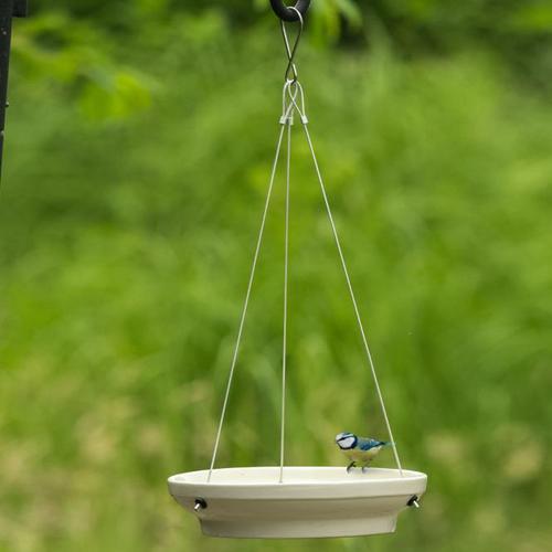 Hängende Vogeltränke, glasierte Keramik, ca. 26 cm