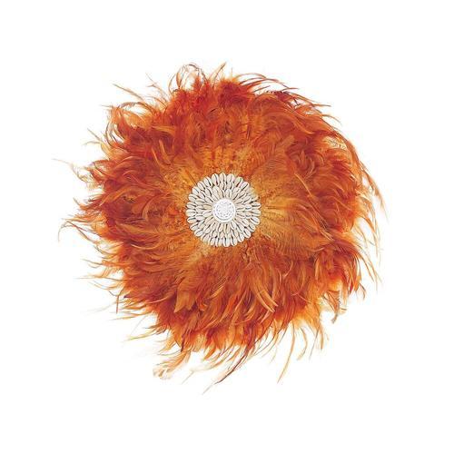 Flauschige Wanddekoration Orange Ø 40 cm Federn mit Muscheln Rund Boho