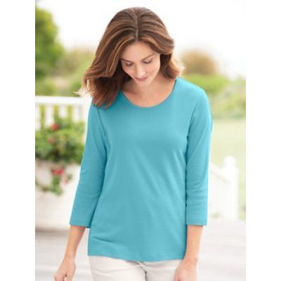 Women's Petite Coastal Cotton 3/4-Sleeve Scoopneck Tee, Grotto Blue P-XL