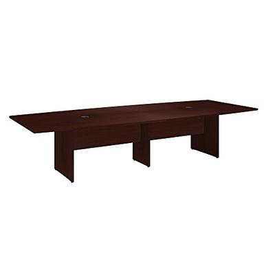 Bush Business Furniture 120W x 48D Boat Shaped Conference Table with Wood Base in Harvest Cherry