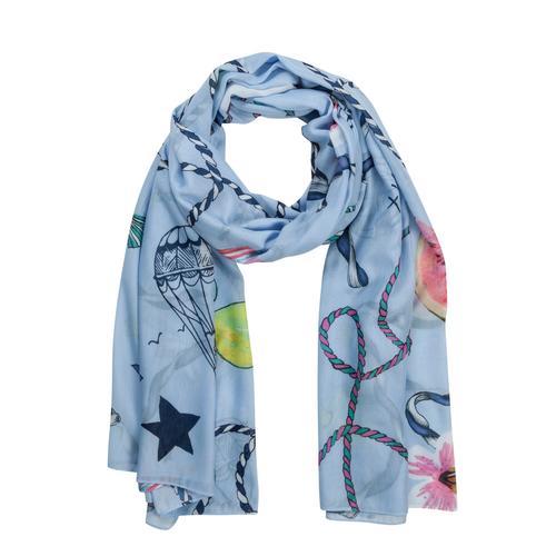 Codello Schal mit Gürteln und Früchten blau Damen Seidenschals Schals, Loops Tücher Accessoires