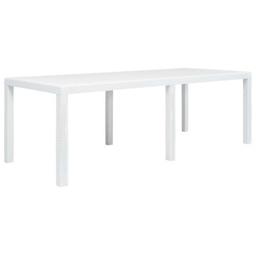 vidaXL Gartentisch Weiß 220 x 90 x 72 cm Kunststoff Rattan-Optik