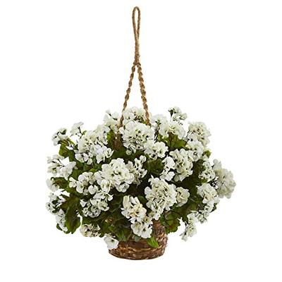 Nearly Natural Geranium Hanging Basket Artificial Plant White