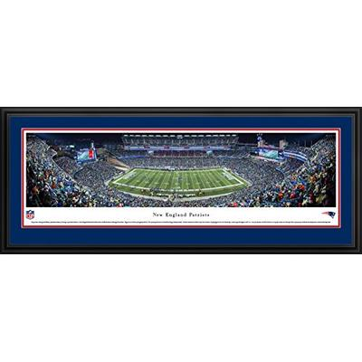 New England Patriots - End Zone - Night - Blakeway Panoramas NFL Posters with Deluxe Frame