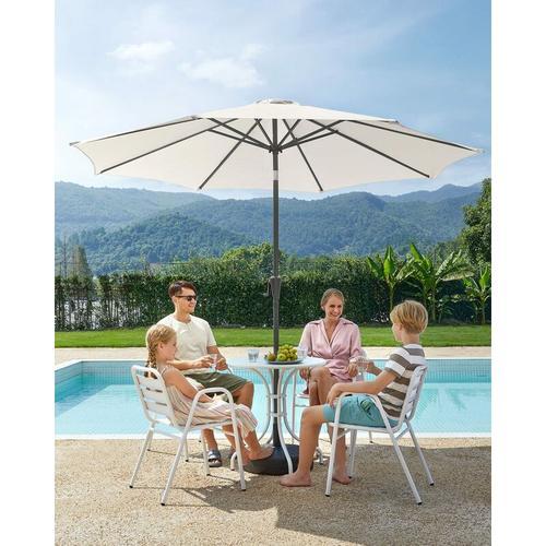 Sonnenschirm, Marktschirm, achteckig, knickbarer Gartenschirm mit Kurbel, Ø 3m, ohne Ständer,