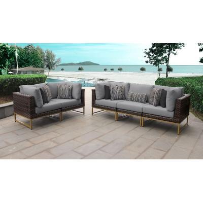 Amalfi 5 Piece Outdoor Wicker Patio Furniture Set 05a in Grey - TK Classics Amalfi-05A-Gld-Grey