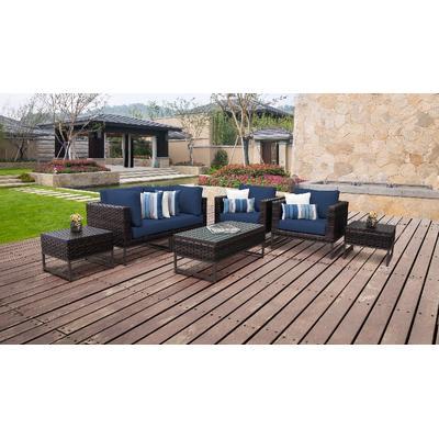 Amalfi 7 Piece Outdoor Wicker Patio Furniture Set 07d in Navy - TK Classics Amalfi-07D-Brn-Navy
