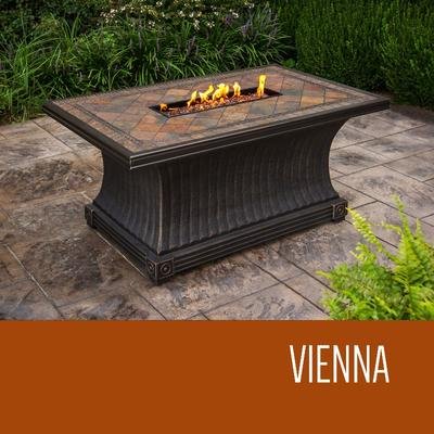 Vienna - 32 x 52 Inch Rectangular Slate Top Gas Fire Pit Table in N/A - TK Classics Fp-Vienna-Kit